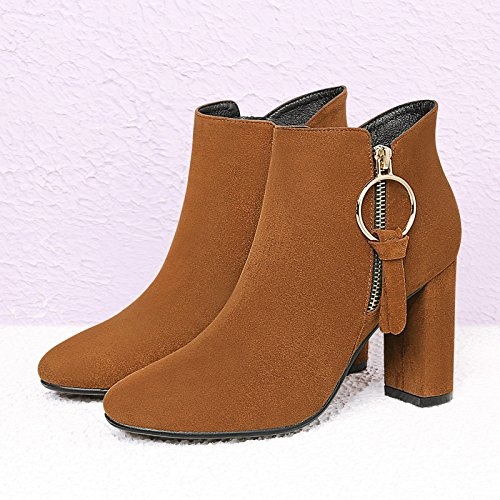 GTVERNH-Martin primavera e invierno botas botas mujer tacones gruesos zapatos de nobuck partido coreano botas zapatos de inviernoTreinta y seisKhaki Treinta y seis Khaki