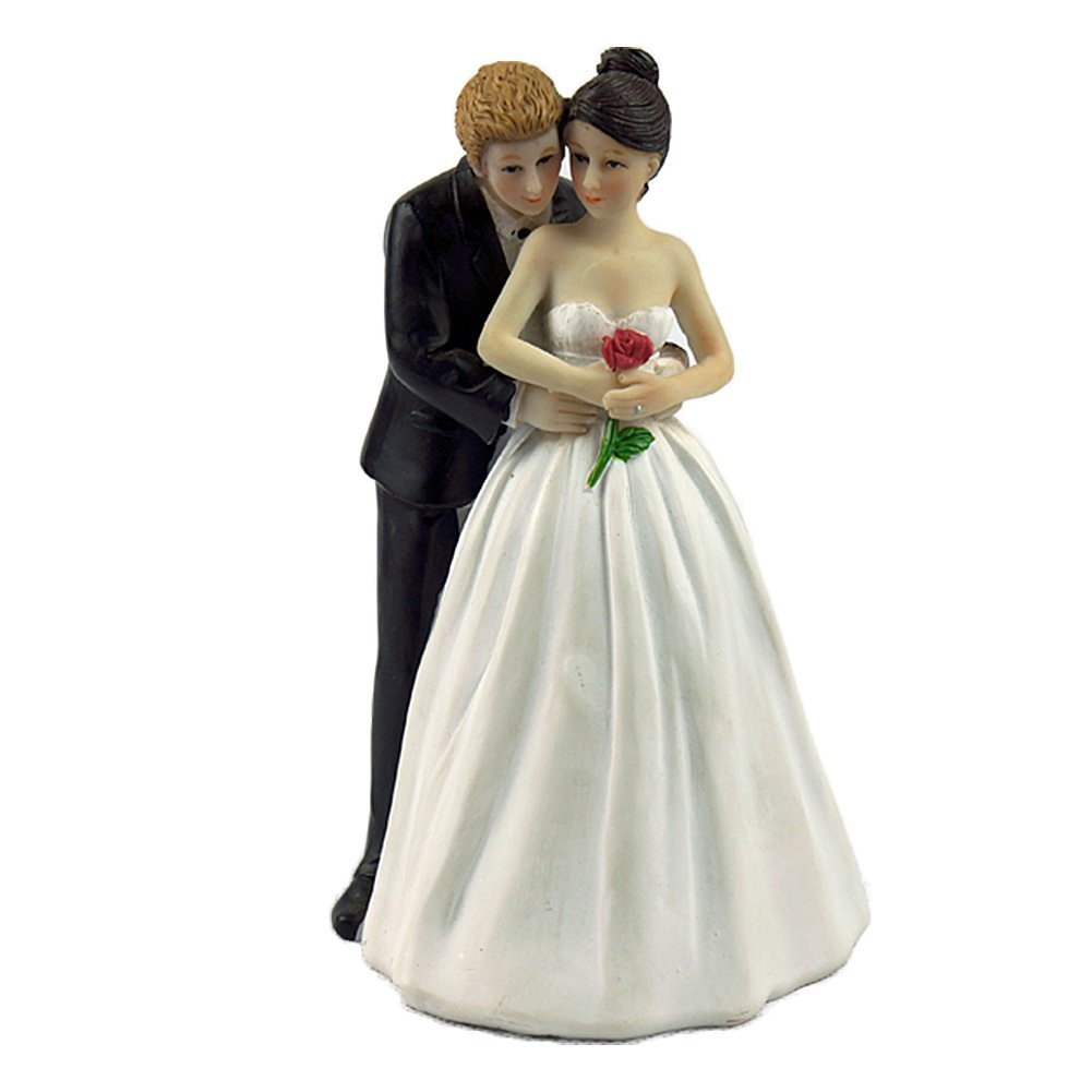 Zehui Creative Romantic Wedding Anniversary Cake doll toppers decoration Bride and groom Hug behind