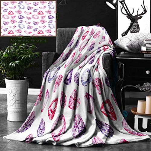 Ralahome Unique Custom Digital Print Flannel Blankets Diamond Decor Amethyst Heart Triangle Shaped Diamonds Hanging Fashion Home Art Super Soft Blanketry Bed Couch, Throw Blanket 60 x 50 Inches