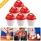 microwave 19 x - Egg Cooker Hard & Soft Maker AS SEEN ON TV, BPA Free, Non Stick Silicone (Red 6 PCS)