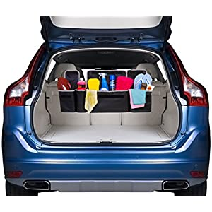 2 in 1 Trunk and Backseat Organizer by Kodiak - Space Saving, High Capacity Auto Back Seat and Trunk Storage - Heavy Duty Design, Fits Any Car or SUV Using 3 Fully Adjustable Straps