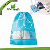 Shoe Organizer Bags, Chickwin 10x Travel Portable Dust-proof Space Saving Storage Bags Breathable Drawstring Transparent Window for Boots High Heel (10 pack large size, sky blue)