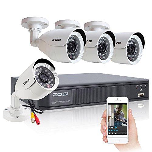 ZOSI 4CH Full D1 960H HD DVR 4PCS 800TVL HD 24IR Outdoor Day&Night Color Cameras 65ft Night Vision Smart Phone