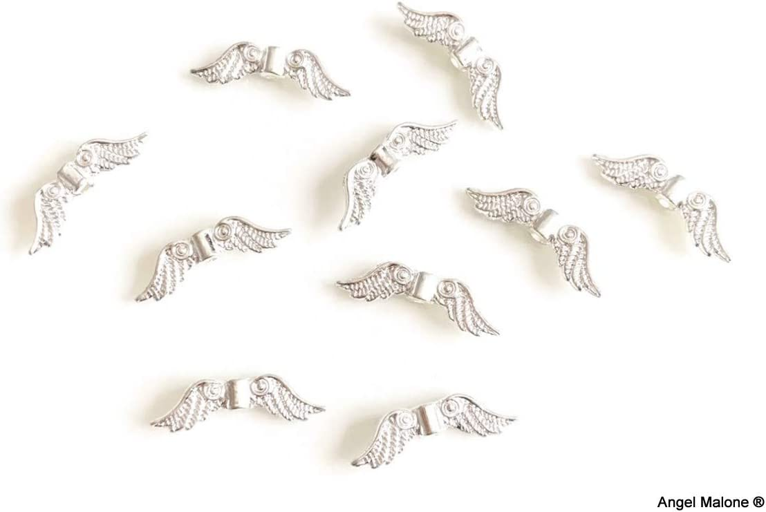 UK Seller Gold Angel Malone/® 20 x Guardian Angel Fairy Single Feathered Wings Pendant Charm Beads Jewellery Making Findings