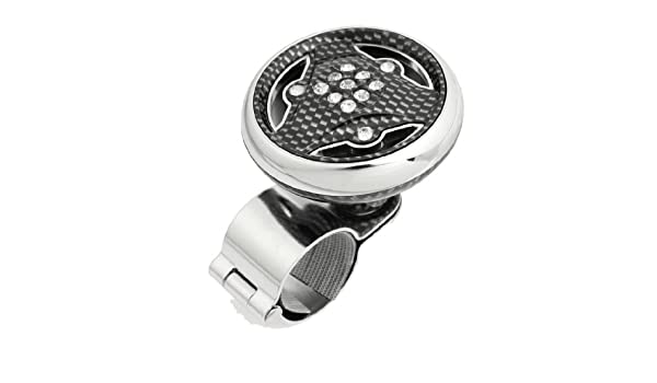 uxcell/® 2.3 Dia Triangle Design Auto Steering Wheel Knob Spinner Black Silver Tone