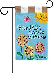 KafePross Grandkids Always Welcome Sunflowers Garden Flag Grandma's Garden Butterfly Banner for Outside 12.5X18 Inch Double Sided