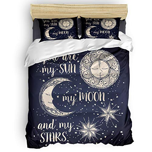 T&H Home 4Pc Duver Cover Set Queen Size Dark Blue Sun Moon and Star Down Comforter Quilt Cover with Matching 1 Flat Sheet + 2 Pillow Shams - Modern Bedding Collection -
