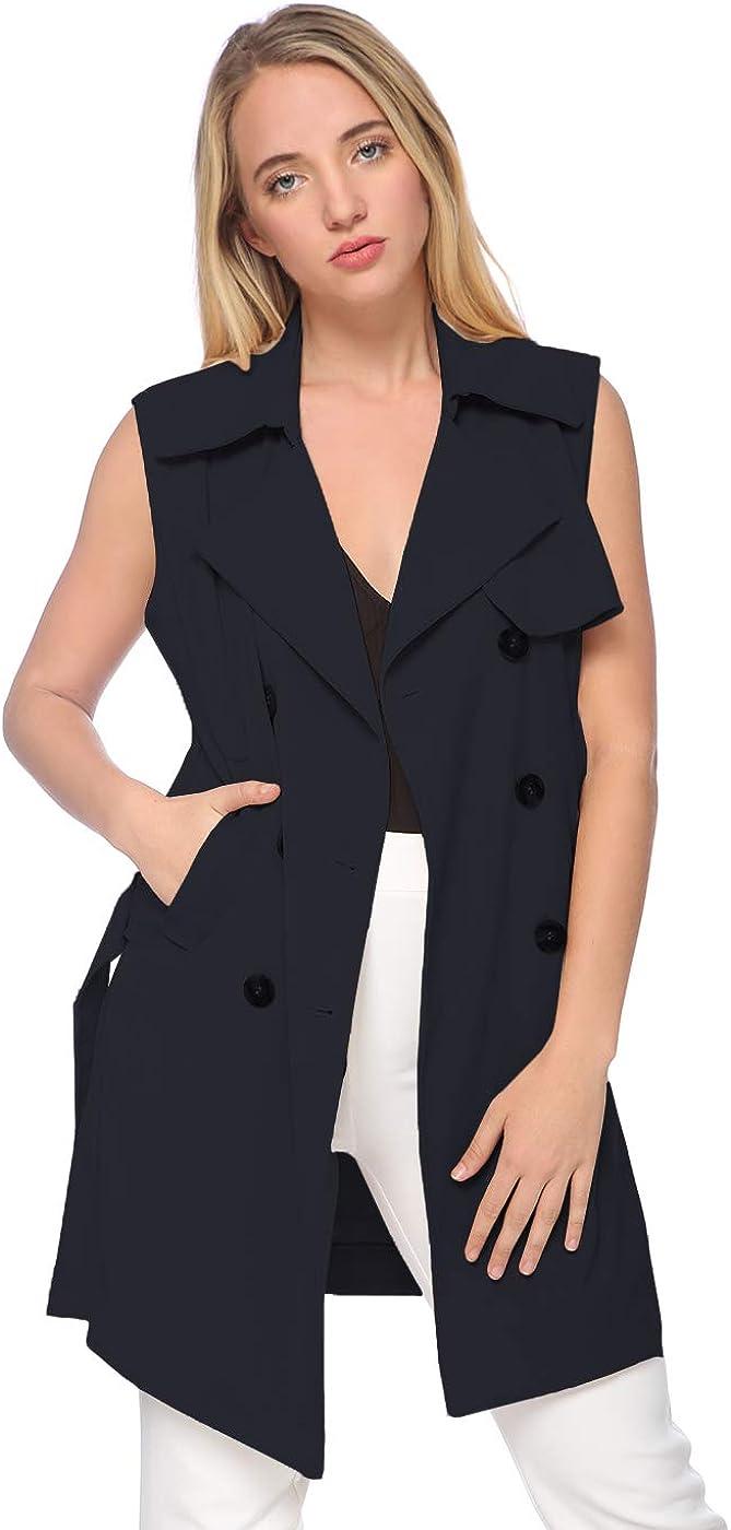 ANNA-KACI Womens Double-Breasted Long Trench Sleeveless Fall Vest Coat