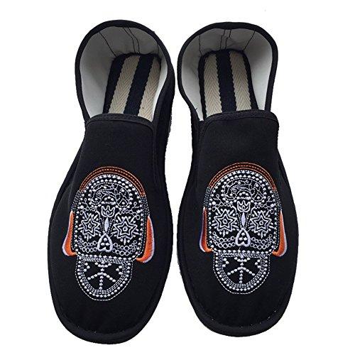 Eagsouni Unisex Chino Old Beijing Bordado Zapatos Verano Sandalias Cómodo Casual Zapatos de Senderismo Negro6