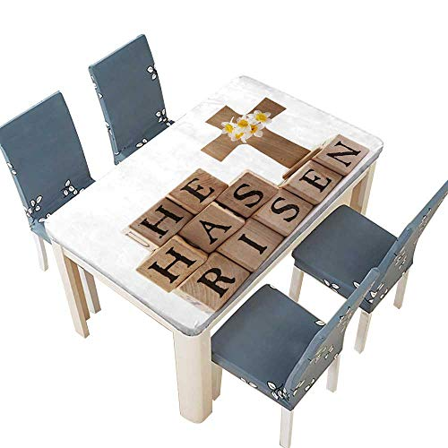 PINAFORE 100% Polyester Luxury Tablecloth Wooden Cross with The Words He has Risen Spelled Out with Rustic alphabetblocks Resistant and Waterproof Tablecloths W73 x L112 INCH (Elastic Edge) for $<!--$69.99-->