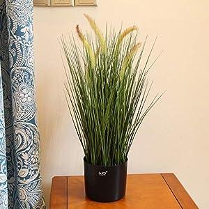Hockus Decorations Simulation Green Plant Bonsai Landing Reed Foxtail Plantas Artificiales para Decoracion - (Color: 60cm Dog Tail Grass) 93