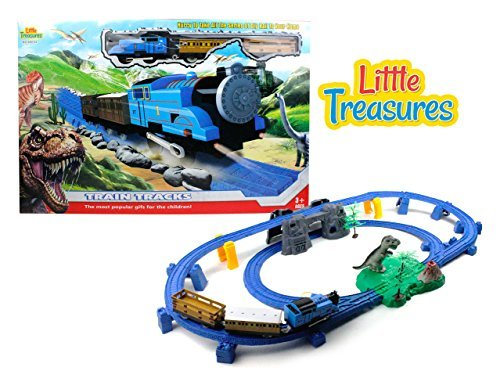 Dinosaur theme electric train set with light and sound - Join the train with tracks up and down hills ramps, a bridge and curvy roads and thru a tunnel - great toy gift train-set for boys and girls