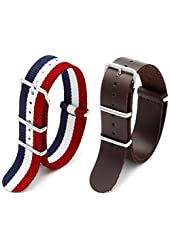 2pc 20mm Nato Ss Nylon Striped Navy Blue / White/red , Brown leather Replacement Watch Strap Band