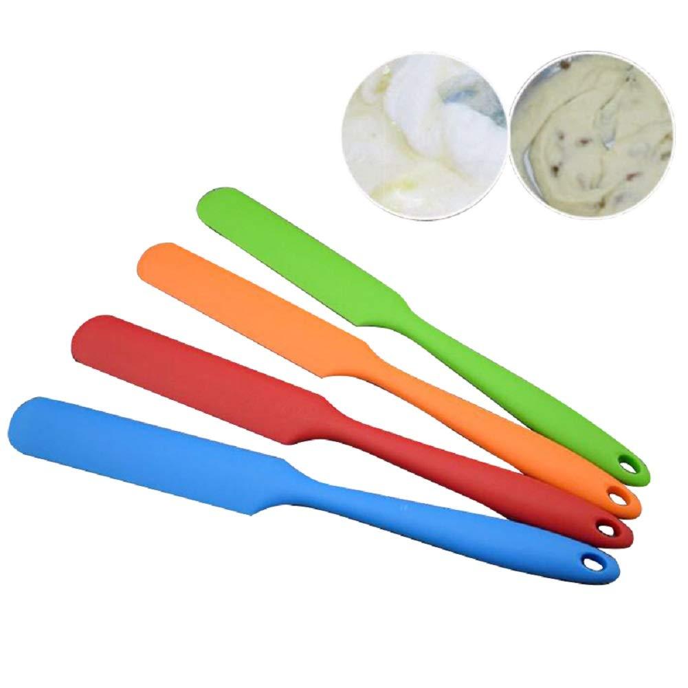 DENSHINE - 4 Pack Silicone Spatula, Non-stick Heat Resistant Spatula, Cake Cream Butter Spatulas Mixing Batter Scraper