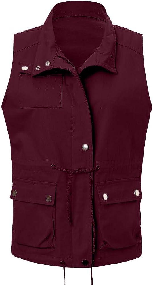 Mikkar Womens Jacket Vest Lightweight Sleeveless Stretchy Drawstring with Zipper