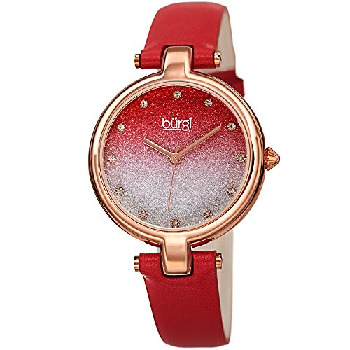 Burgi Genuine Leather Women's Watch - Sparkling Ombre Glitter Dial with 12 Swarovski Crystal Markers, Polished Bezel, Red Strap - BUR225RD ()