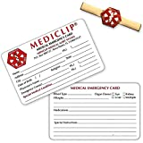 MediClip 1001 Medical ID Clip for Bracelet Watch Purse and 2 Cards