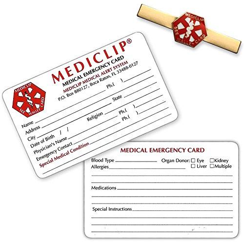 Watch Bracelet Clip - MediClip 1001 Medical ID Clip for Bracelet Watch Purse & 2 Cards