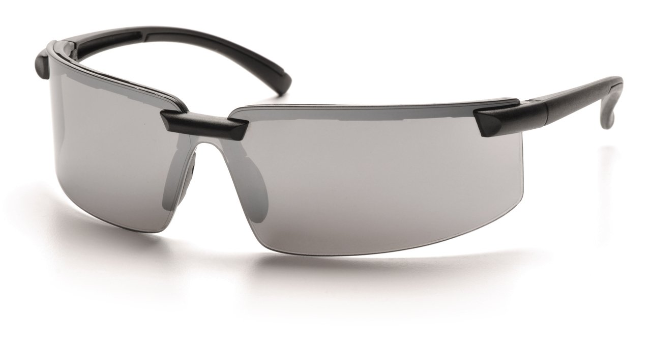 (12 Pair) Pyramex Surveyor Glasses Black Frame/Silver Mirror Lens (SB6170S)