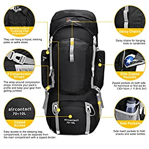 Mountaintop 70L+10L Outdoor Sport Water-resistant Internal Frame Backpack Hiking Backpack Backpacking Trekking Bag with Rain Cover for Climbing,camping,hiking,Travel and Mountaineering-6804 Black