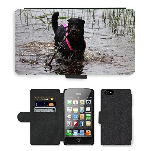 Just Phone Cases PU Leather Flip Custodia Protettiva Case Cover per // M00127764 Chiot beauceron Pet animal mignon // Apple iPhone 4 4S 4G