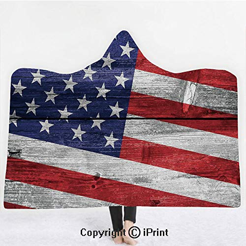 Rustic American USA Flag 3D Print Soft Hooded Blanket Boys Girls Premium Throw Blanket,July Independence Day Commonwealth Country Emblem Patriotism Wooden Plank Looking,Lightweight Microfiber(Kids 50