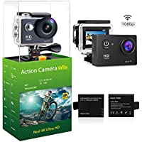 Flytec WIFI Sports Action Camera Ultra HD Waterproof DV Camcorder 12MP 140 Degree Wide Angle( two batteries)