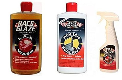 Race Glaze Bundle 3 Items - L.A.S. Wash + Polish & Sealant +Gloss Highlighter dhp-1602