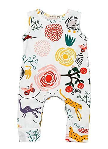 Happy kido Newborn Baby Girls Flower Animal Print Romper Bodysuit Outfits Spring Summer Tops (White, 6-12 - Infant Girls Piece Outfit One