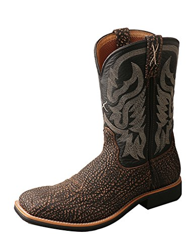 Image of the Twisted X Men's Top Hand Embossed Cowboy Boot Square Toe Brown 10 EE