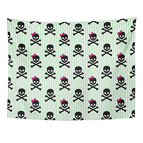 Emvency Tapestry Wall Hanging Black Pirate Girly Skull and Crossbones on Striped Pink Punk Halloween Bow Rock 60