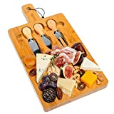 Bamboo Cheese Board and Knife Set On One Side (3 Cheese Knives) - Medium Bamboo Cutting Board On The Other Side - Multifunctional Bamboo Cheese Cutting Board Set - by blauKe
