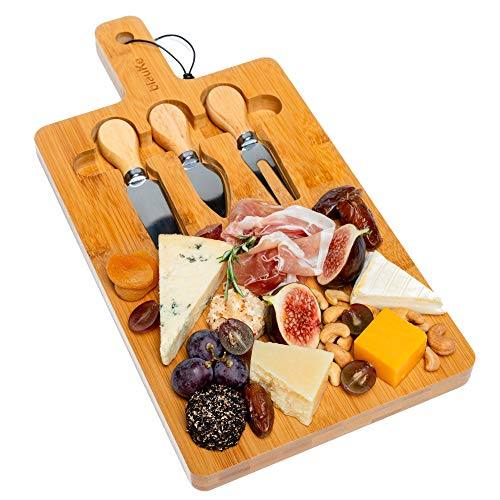 Bamboo Cheese Board with Cutlery Set - Bamboo Cheese Board and Knife Set (3 Cheese Knives Included) - Bamboo Cheese Cutting Board - by blauKe