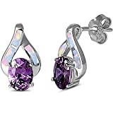 Faceted Amethyst & Lab Created Opal High Fashion .925 Sterling Silver Earrings SEO5073