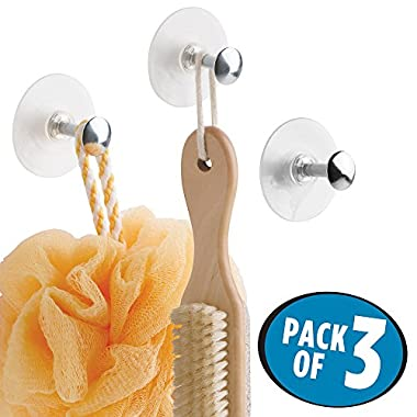 mDesign Bathroom Shower Plastic Suction Cup Hooks for Loofah, Washcloth, Brush - Set of 3, Chrome