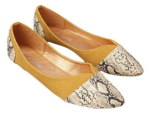 Plaid & Plain Womens Casual Modello A Serpente Punta A Punta Balletto Comfort Morbido Slip On Flats Scarpe Gialle