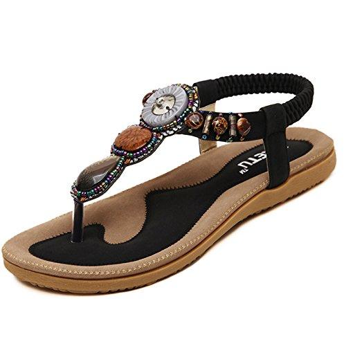 Women's Summer Bohemian Beaded Ankle Walking Strap Sandals Size 6 7 8 9 Casual Flip Flops Ladies Beach Sexy Flats Shoes (11 B(M) US, Black) ()