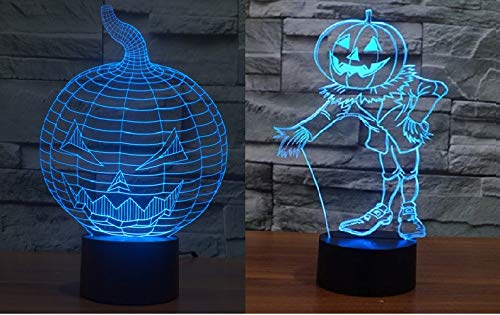 2-in-1 3D Illusion Pumpkin Lantern Lamp,7 Color Changing Optical Illusion Table Lamps,Best Gifts for Home Decoration Xmas Halloween -
