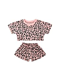 Zoey's DreamHouse Toddler Baby Girls 2 Pcs Short Sleeve Leopard Print T-Shirts and Shorts Sets Newborn Outfit Clothes