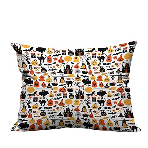 (RuppertTextile Living Room Sofa Hug Pillowcase Halloween Icons Collection Candies Owls Castles Ghosts October 31 Theme Anti-fadingW17 x)