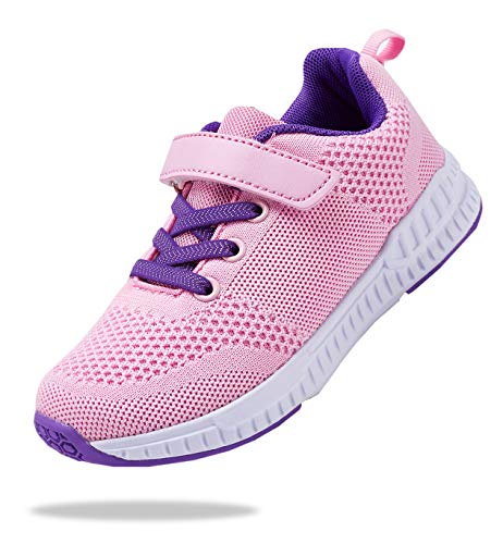 Santiro Pink Tennis Shoes for Girls Comfortable Knit Sneakers Lightweight Sport Walking Tennis Shoes Kids Running Shoes 1 M US