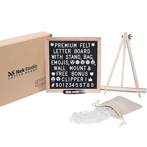 Felt Letter Board with 340 Changeable Characters Including Symbols, Numbers, Emojis & Punctuation. Premium 10x10 Oak Frame with Wood Tripod Stand, Canvas Bag, Wall Hanger and FREE Bonus (Free Bulletin Board Letters)