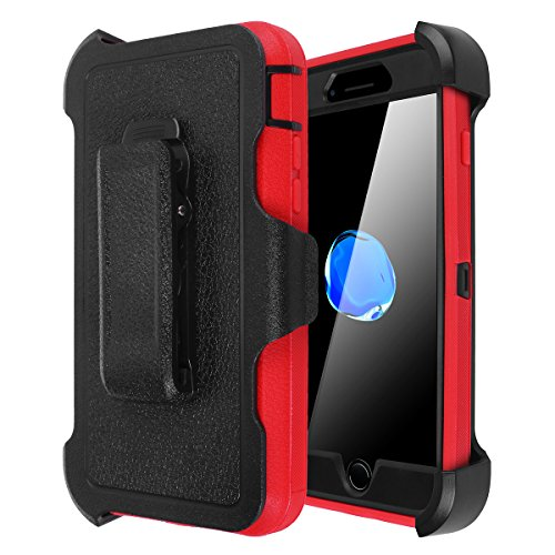 AICase iPhone 7 Plus/8 Plus Shockproof Case, [Heavy Duty] [Full Body] Built-in Screen Protector Water-Resistance Cover for Apple iPhone 8 Plus/7 Plus/6 Plus/6s Plus (Black/Red with Belt Clip)
