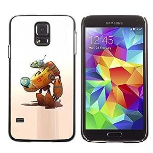 LECELL--Funda protectora / Cubierta / Piel For Samsung Galaxy S5 SM-G900 -- Robot Alien Cat Space Ship Fish Bowl Art --