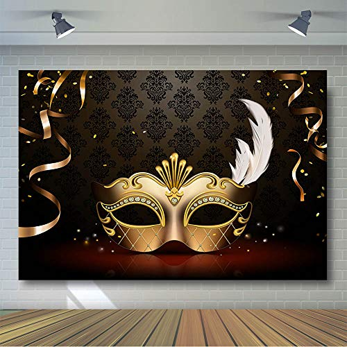 Custom Masquerade Mask - COMOPHOTO Masquerade Photography Backdrops Golden Mask Dark Retro Pattern Stage Photo Background for Birthday Party Banner Decoration