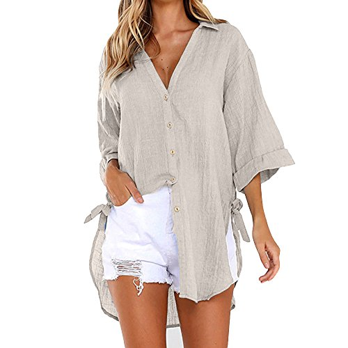 Hot!EDC 2019 Women's Summer Classic Simple Solid Blouse Loose Casual V Neck Button Long Shirt Dress Tops T-Shirt Shirts (Khaki, XL) ()