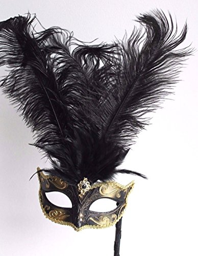 Mask & Co Hand Held Women's Quality Black & Gold Feather Venetian Masquerade Party Ball Eye Mask on a Stick (Masks On A Stick)