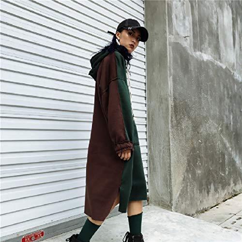 Women Blackish Fashional Color Pullover Dress Green Howme Sweater Long Splice Hood aIqadz