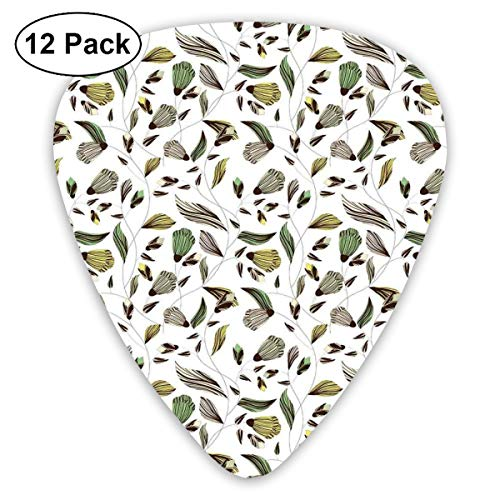 - Guitar Picks 12-Pack,Earth Tones Bouquet Beauty Autumn Nature Flame Of The Forest Petal