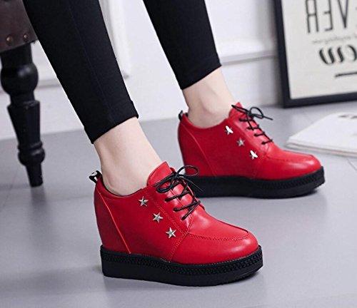 Rojo Los De Zapatos Con Mayor 7Cm Otoño Pendientes KHSKX Zapatos Pino Versión La 38 El Sra Torta Nuevo Salvajes De Coreana Zapatos De Ocio HxZqntwf